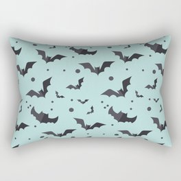 Halloween Green Bat Pattern Rectangular Pillow