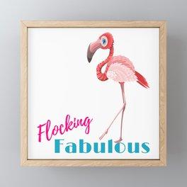Pink Flamingo Flocking Fabulous Framed Mini Art Print