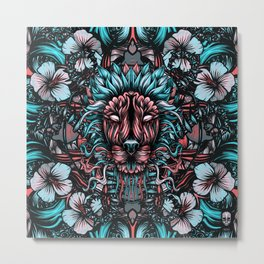 Lion and flowers Metal Print