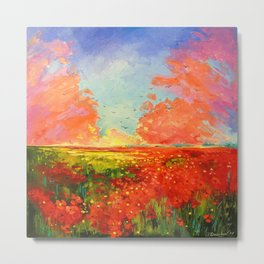 Dawn of the poppy field Metal Print