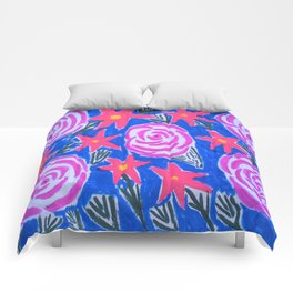 Classic Pink and Blue Floral Comforters