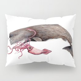 Epic battle between the sperm whale and the giant squid Pillow Sham