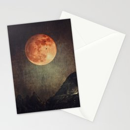 Moon over Dark Mountains Stationery Cards