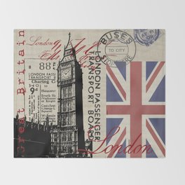 London Great Britain Big Ben Flag Collage Throw Blanket