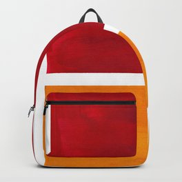 Burnt Red Yellow Ochre Mid Century Modern Abstract Minimalist Rothko Color Field Squares Backpack