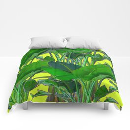 DECORATIVE TROPICAL GREEN FOLIAGE & CHARTREUSE ART Comforters