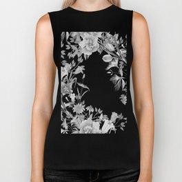 Stardust Black and White Floral Motif Biker Tank