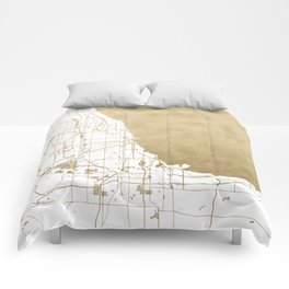 Chicago Gold and White Map Comforters
