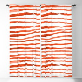 Irregular watercolor lines - orange Blackout Curtain