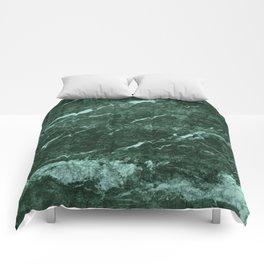Dark Green Marble texture Comforters