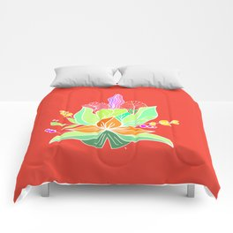Tropical flowers Comforters
