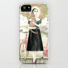 Girl and cat with pink bicycle iPhone (5, 5s) Slim Case