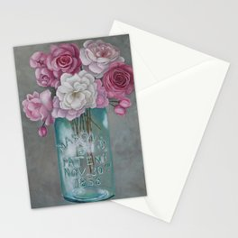 Antique Mason Jar Number 6 1858 with Pink Roses Stationery Cards