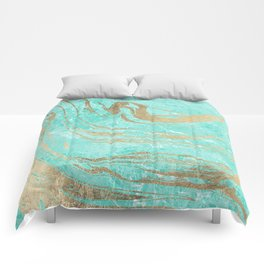 Modern faux gold turquoise white elegant marble Comforters
