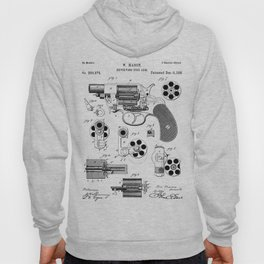 Colt Revolver Patent - Colt Firearm Art - Black And White Hoody