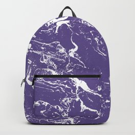 Modern trendy purple ultra violet  white marble  pattern Backpack