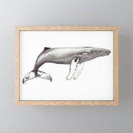 Humpback whale black and white ink ocean decor Framed Mini Art Print