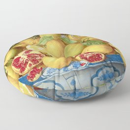 Still Life with Lemons, Oranges and a Pomegranate Floor Pillow
