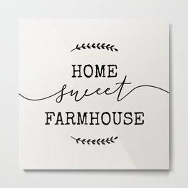 home sweet farmhouse linen vintage design modern rustic modern farmhouse shabby chic word art Metal Print