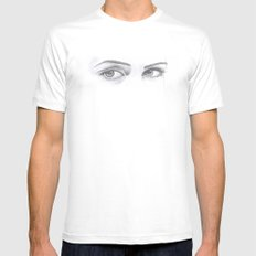 Look Into My Eyes White MEDIUM Mens Fitted Tee