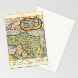 Vintage Map Print - 1624 map of the Ancient World based upon the Bible by Abraham Ortelius Stationery Cards