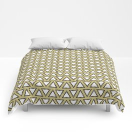 Gold, white and black geometric triangle pattern. Manchester Architecture Collection Comforters
