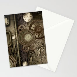 Steampunk, clocks and gears Stationery Cards