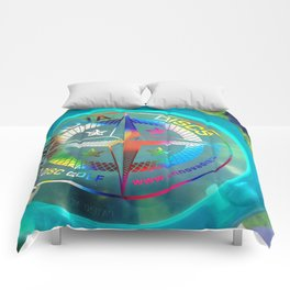 Disc Golf Boss Frisbee Blue Crystal Rainbow First Run Proto Comforters