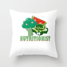 Cute Fruit & Vegetables Professional Nutritionist Throw Pillow