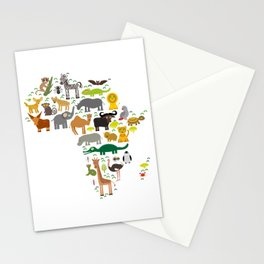 map of Africa: parrot Hyena Rhinoceros Zebra Hippopotamus Crocodile Turtle Elephant Mamba snake Stationery Cards