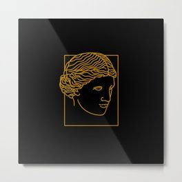 Aphrodite Face in Black Metal Print