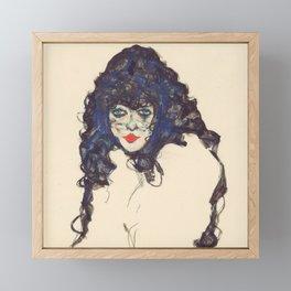 """Egon Schiele """"Frau mit schwarzem Haar (Woman with black hair)"""" Framed Mini Art Print"""