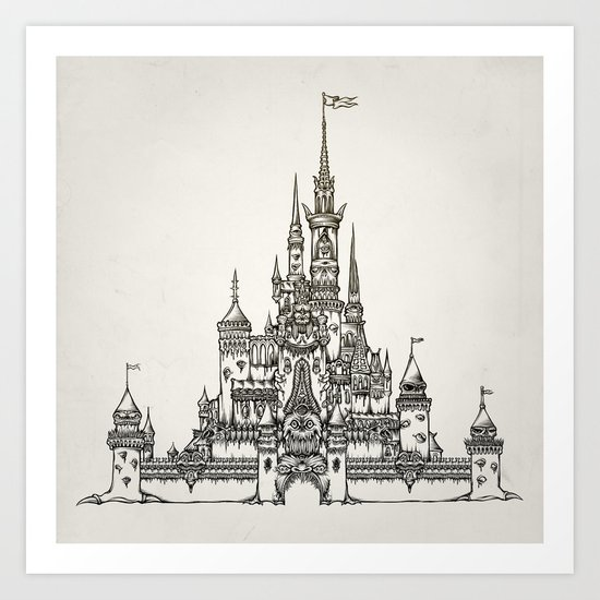 Castle of Dreams s/w Art Print