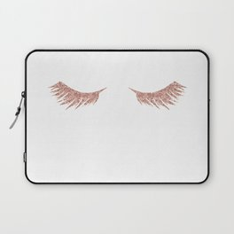 Pretty Lashes Rose Gold Glitter Pink Laptop Sleeve