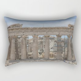 Modern and Ancient - Parthenon at Acropolis of Athens Under Construction Rectangular Pillow