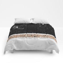 Black and White Marble Gold Glitter Stripe Glam #1 #minimal #decor #art #society6 Comforters