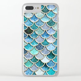 Multicolor Aqua Mermaid Scales - Beautiful Abstract Glitter Pattern Clear iPhone Case