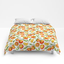 orange pattern tangerine citrus print Comforters