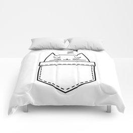 Cat sleeping in the pocket Comforters