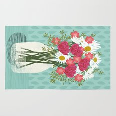 Vase of Daisies floral flowers spring summer mother's day illustration Andrea Lauren Rug
