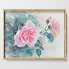 Watercolor Pink English Rose Garden Serving Tray
