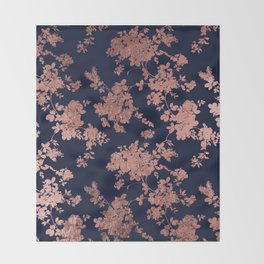 Modern elegant navy blue faux rose gold floral Throw Blanket