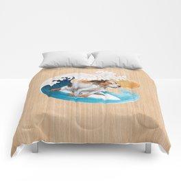 Surfing dog wave sea sun Comforters