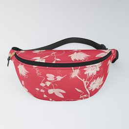 Festive Christmas Bright Red Passion Flowers Fanny Pack