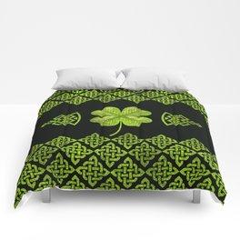 Irish Shamrock Four-leaf clover with celtic decor Comforters