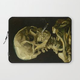 Skull of a Skeleton with Burning Cigarette Painting by Vincent van Gogh Laptop Sleeve