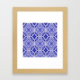 BOHEMIAN PALACE, ORNATE DAMASK: BLUE and WHITE Framed Art Print