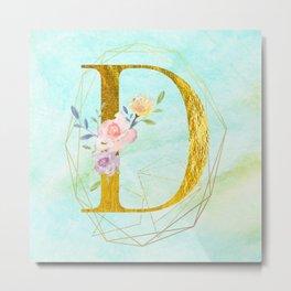 Faux Gold Foil Alphabet Letter D Initials Monogram Frame with a Gold Geometric Wreath Metal Print