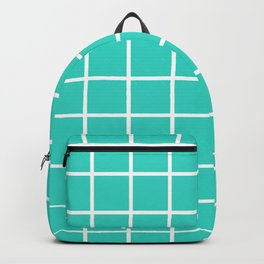 GRID DESIGN (WHITE-TURQUOISE) Backpack