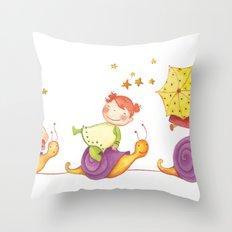 Babies in a snails Throw Pillow